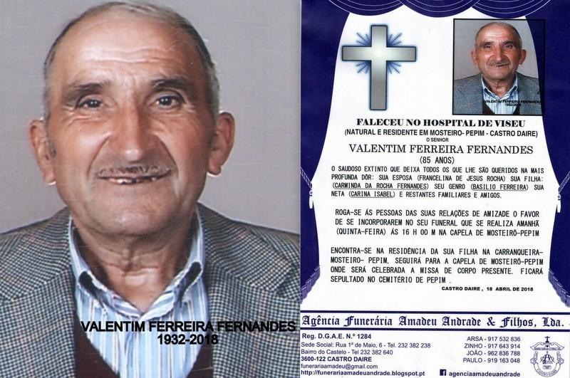 FOTO RIP- DE VALENTIM FERREIRA FERNANDES-85 ANOS (