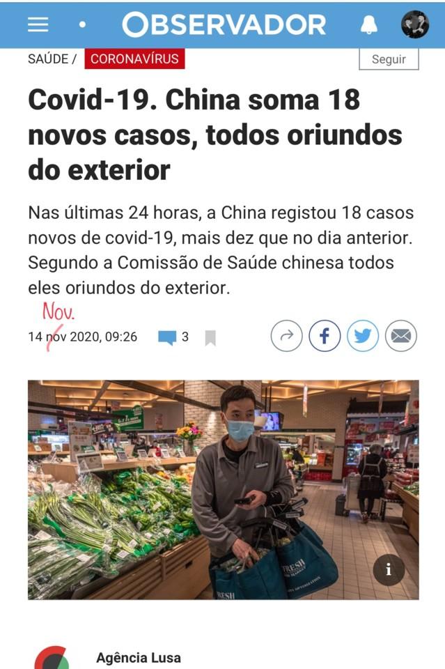 A China soma 18 casos, in Observidor [isto mesmo], 14/XI/20