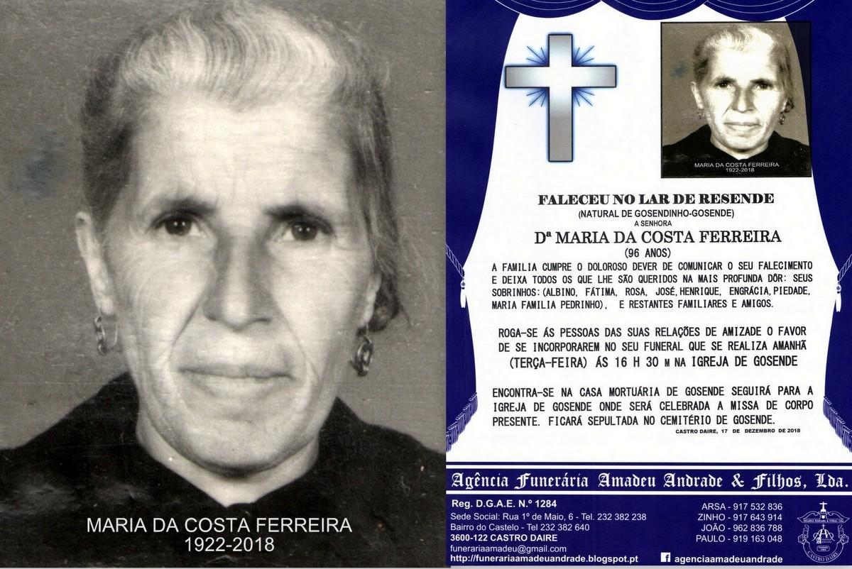 FOTO RIP-DE MARIA DA COSTA FERREIRA -96 ANOS (GOSE