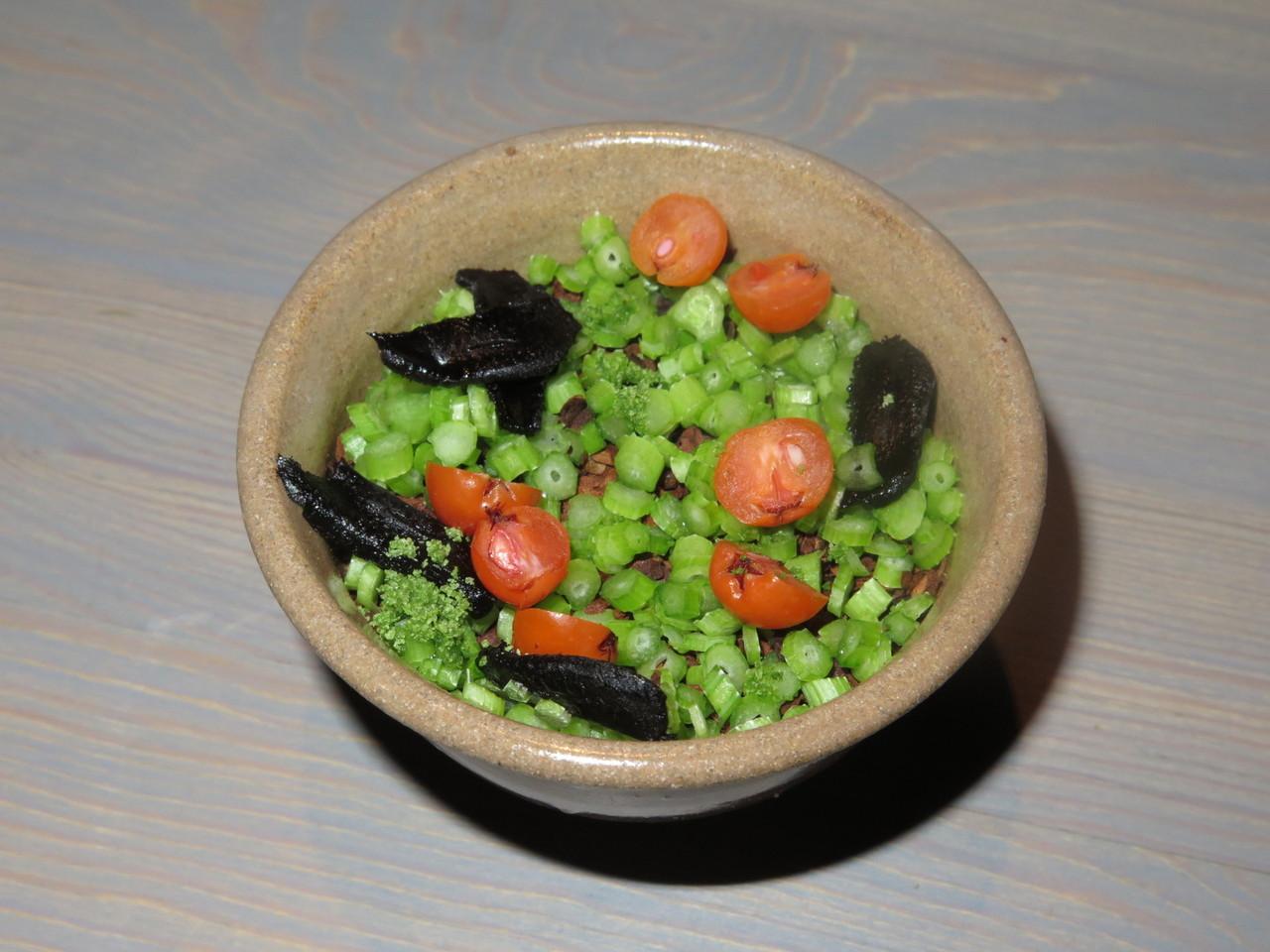 Bird's liver custard, malted cabbage, rowan berries and parsley stems