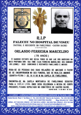 RIP- ORLANDO FERREIRA MARCELINO -78 ANOS (FAREJINH