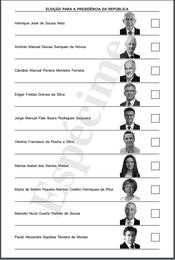 Boletim de voto das eleições presidenciais de 20