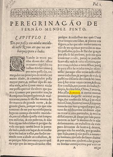 Peregrinação de Fernão Mendes Pinto, Lisboa, Pedro Crasbeeck, 1614, f. 1