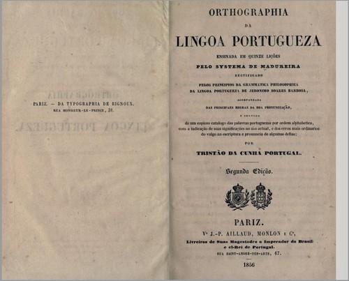 Orthographia da Lingoa Portugueza... 1856