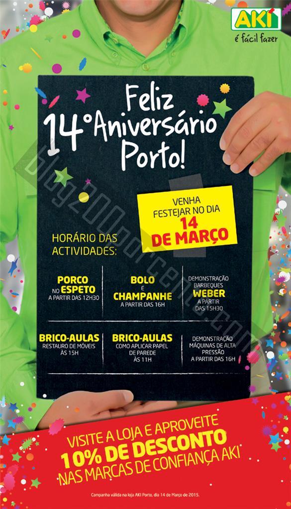10% de desconto e ofertas AKI Porto dia 14 março.
