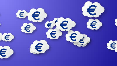 stock-footage-flying-euros-animation-on-blue-backg