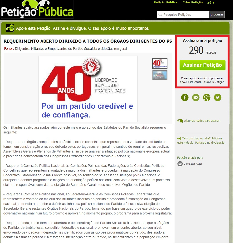 partido socialista António Costa e José Seguro petição