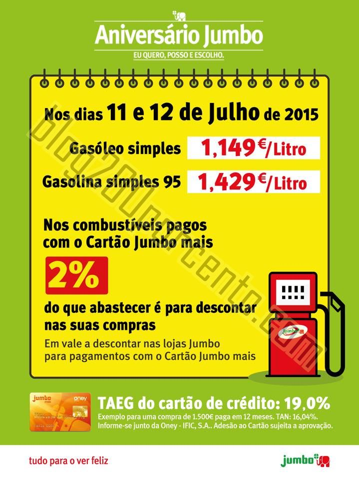 Promoção JUMBO Combustíveis dias 11 e 12 julho.