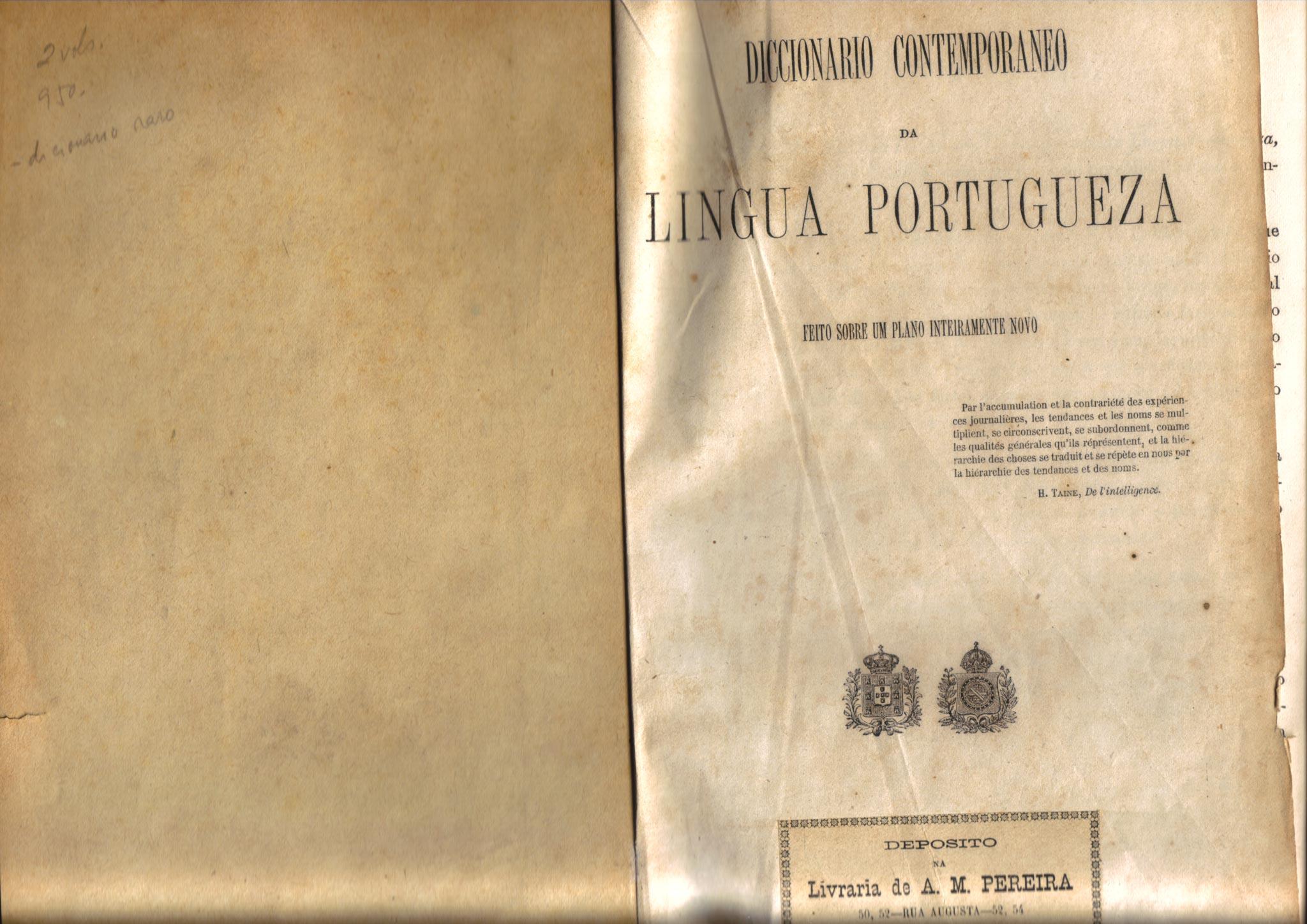Diccionario Contemporaneo da Lingua Portugueza [Aulete], Lisboa, Imprensa Nacional, 1881