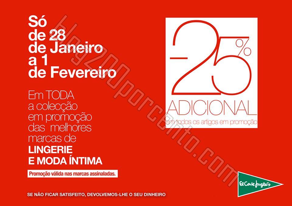 25% desconto adicional EL CORTE INGLÉS de 28 jane