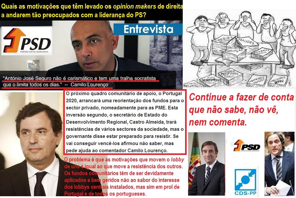 Fundos Comunitários; Europa; PSD; PS; Camilo Lourenço; Secretário de Estado; Governo; José Seguro; Sócrates