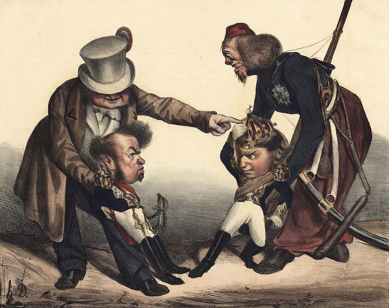Kssse! Pedro! Kssse Kssse! Miguel! (Daumier, 1833)