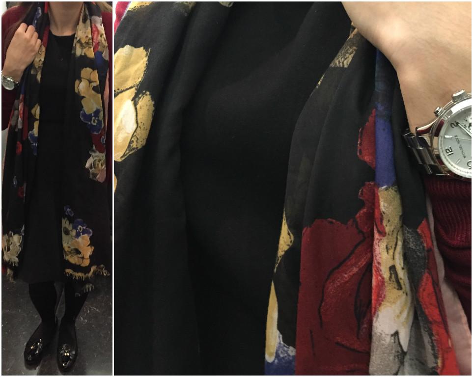 escolhi um vestido preto da Zara, um casaco de malha da