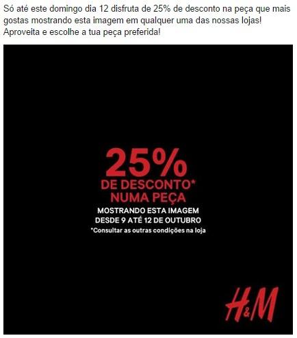 25% de desconto HM até 12 outubro