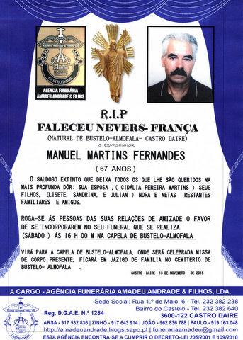RIP-MANUEL MARTINS FERNANDES-67 ANOS(BUSTELO-ALMOF