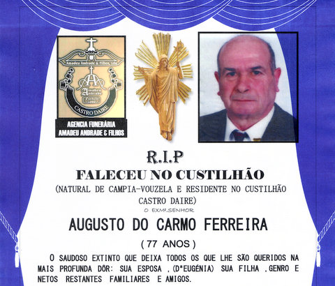 RIP- DE AUGUSTO DO CARMO FERREIRA-77 ANOS (CUSTILH