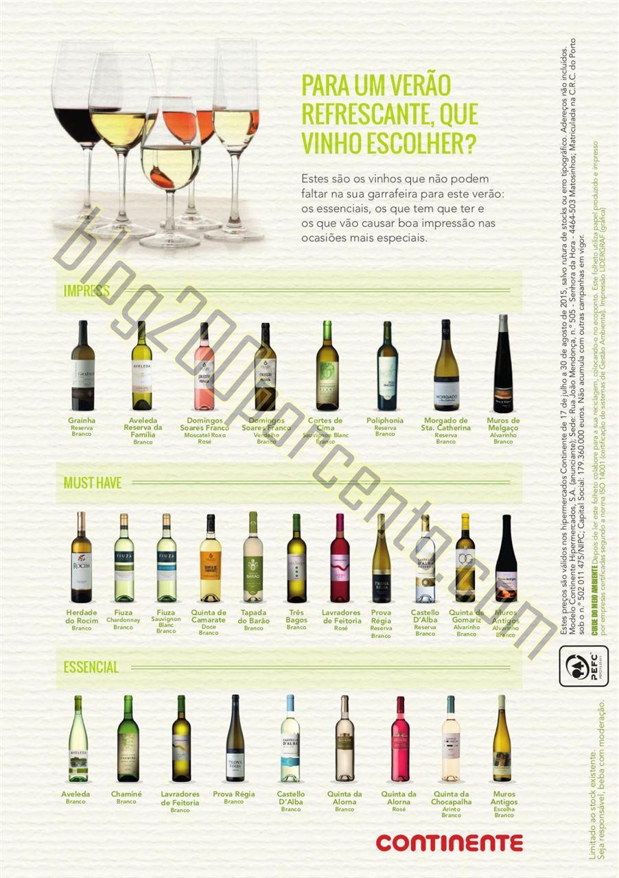 Novo Folheto CONTINENTE Vinhos verão de 17 julho