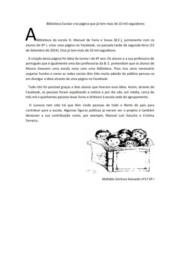 Biblioteca Escolar cria página que já tem mais d