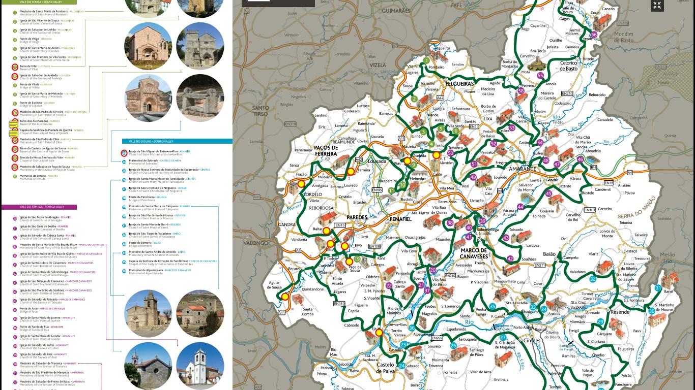 mapa rota do romanico Mapa Geral   Rota do Românico do Vale do Sousa   Yamaha MT03 Snow mapa rota do romanico