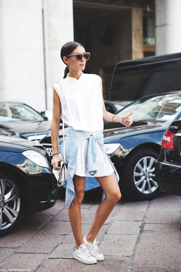 Milan_Fashion_Week_Spring_Summer_15-MFW-Street_Style-Diletta_Bonaiuti-White_Dress-Adidas_Stan-Sneakers-620x930
