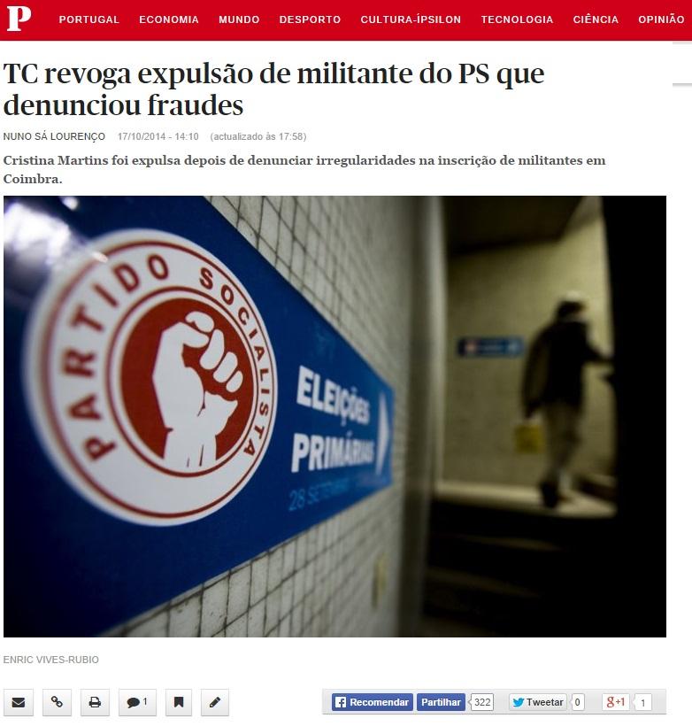 PS Tribunal Constitucional revoga expulsão de militantes socialistas