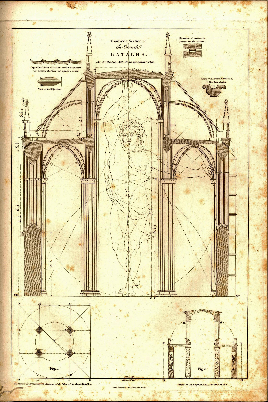 Corte transversal da basílica da Batalha (J. Murphy, 1795)
