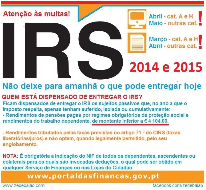 IRS 2014 e 2015 isenção de entrega de IRS.jpg