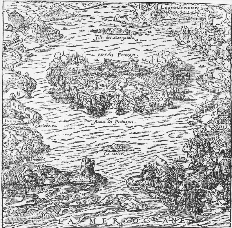 Ataque português ao Forte Coligny, Ilha das Palmeiras (Vilaganhão, R.J.), 1560 (Anónimo, 1567)