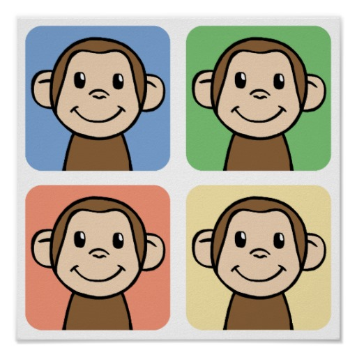 cartoon_clip_art_with_4_happy_monkeys_posters-rd9e