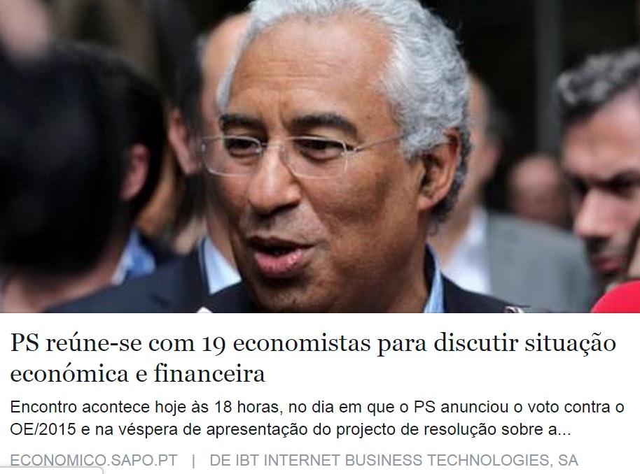 António Costa PS reúne-se com 19 economistas para discutir situação económica e financeira e Orçamento de Estado 2015