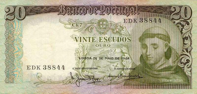 20$00: chapa 7; Santo António (Bamco de Portugal, 1965)