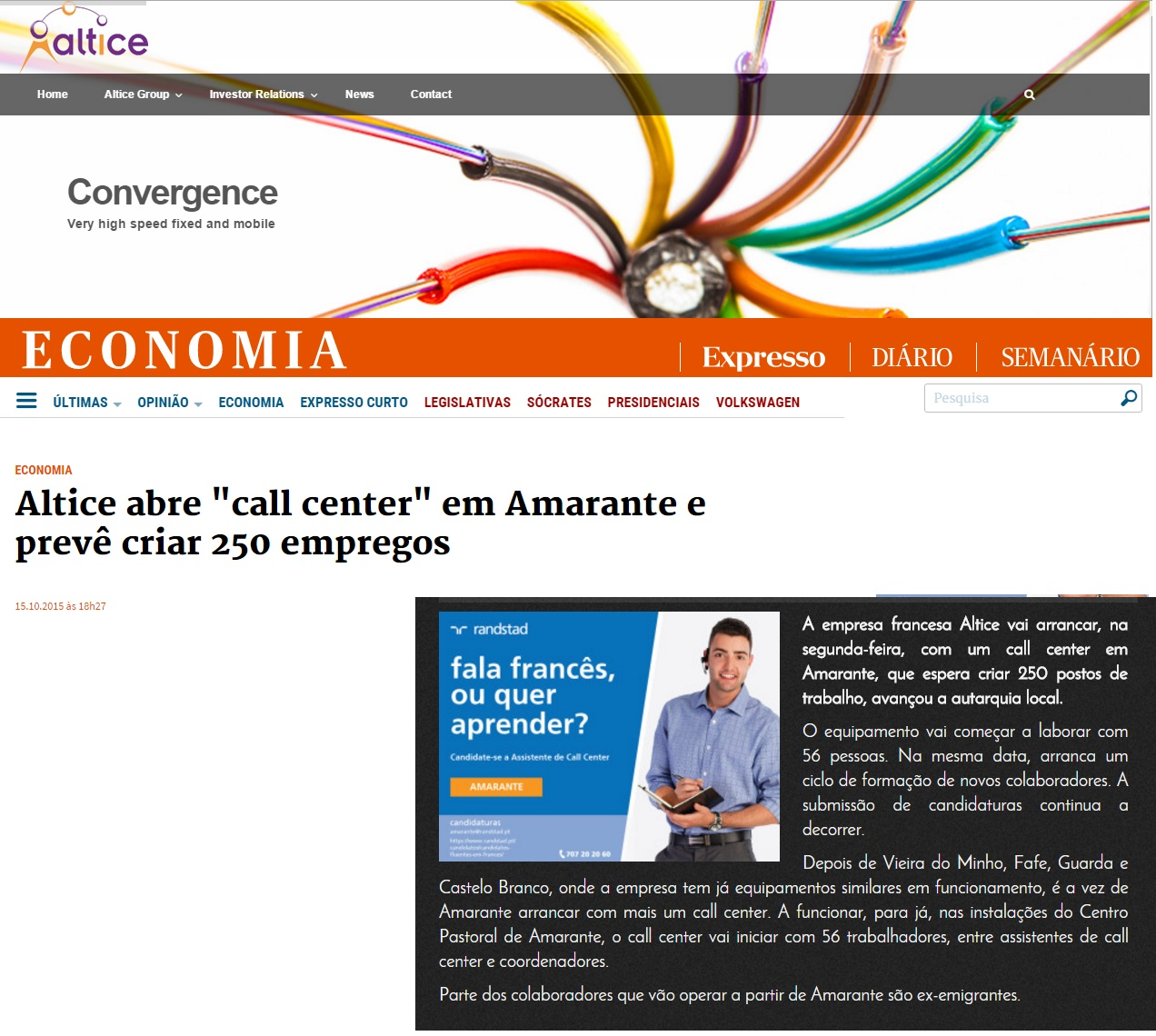 Altice presta serviço call center para empresa fr