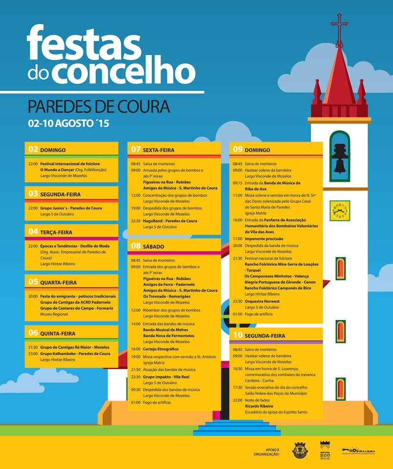 Programa Festas Concelho Paredes Coura 2015