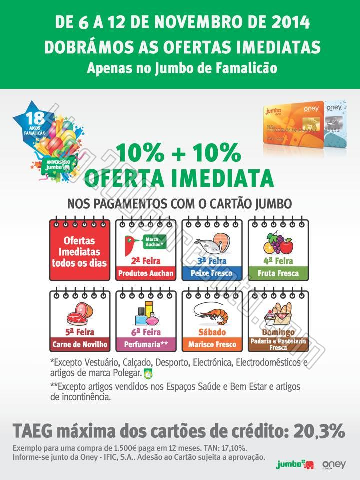 Promoção 10%+10% JUMBO de Famalicão de 6 a 12 n