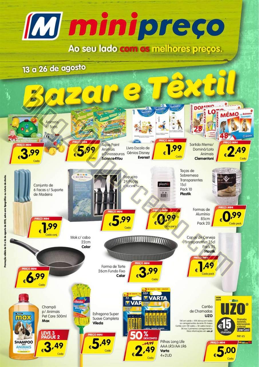 Antevisão Folheto MINIPREÇO Bazar de 13 a 26 ago