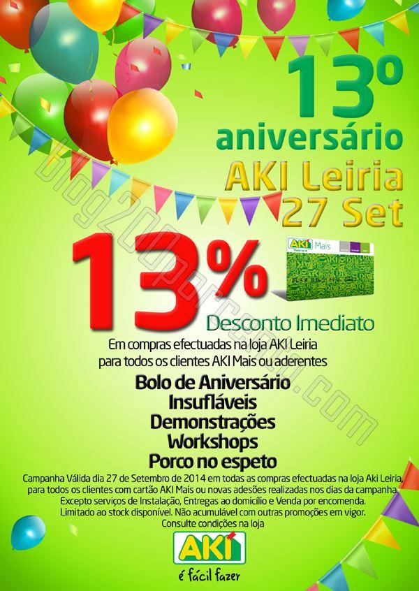 13% de desconto AKI Leiria - Aniversário dia 27 setembro