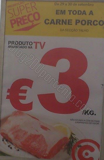 Foto - Promoção carne de porco a 3€ / Kg, dias 29 e 30 setembro