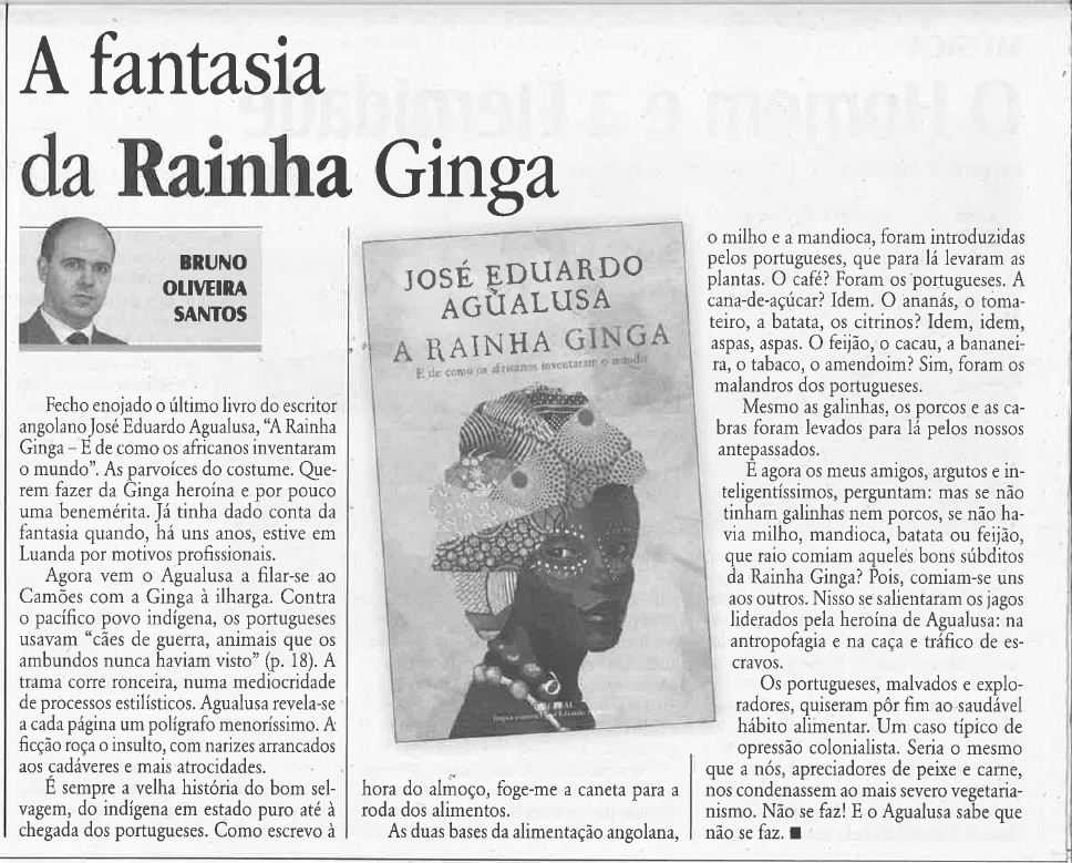Bruno de Oliveira Santos, «A Fantasia da Rainha Ginga», in O Diabo, 5/VIII/14