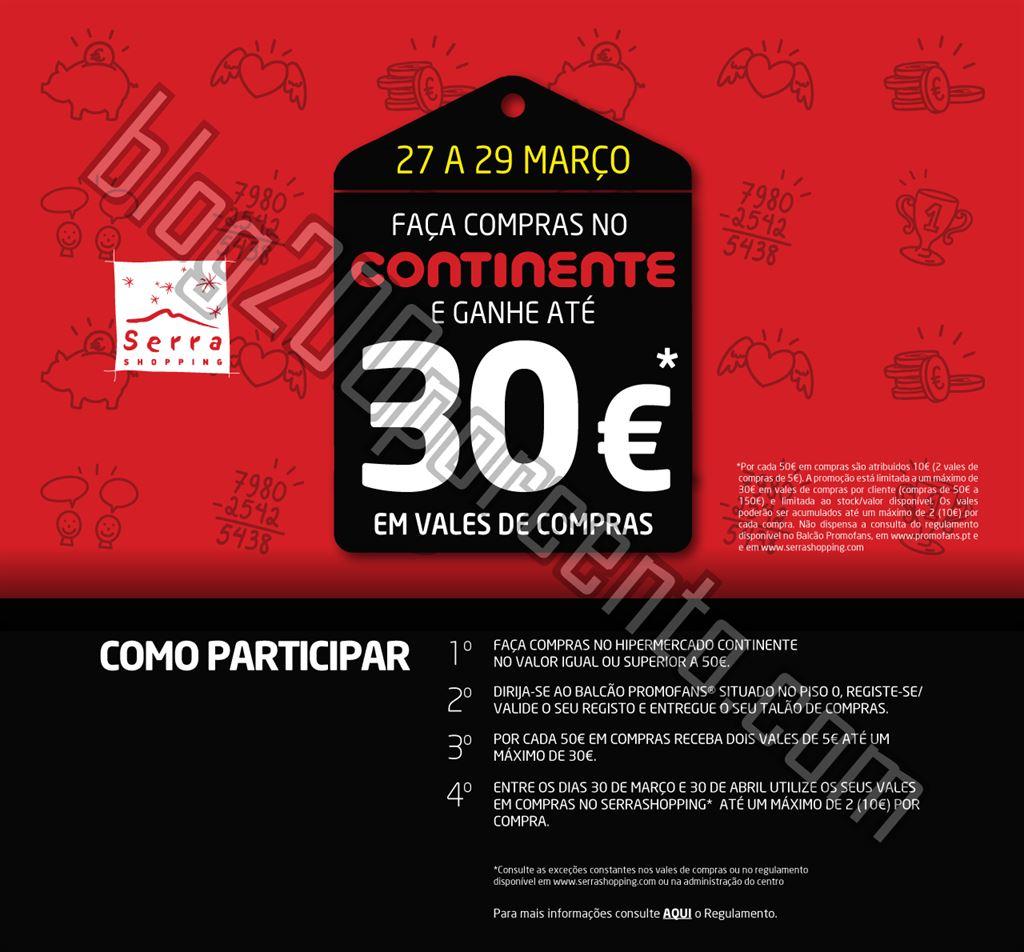 Ganhe até 30€ em vales de compras CONTINENTE Serra shopping de 27 a 29 março
