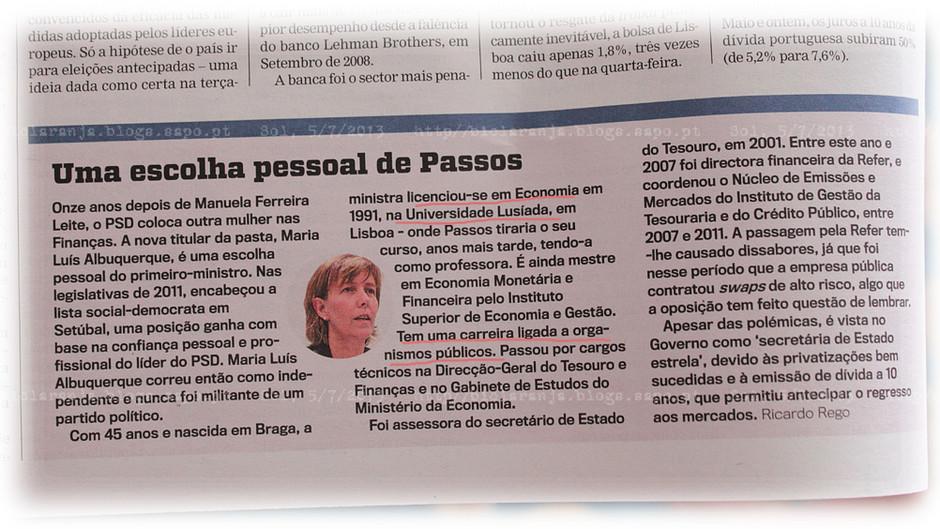[Maria Luís Albuquerque] «Uma escolha pessoal de Passos», (Sol, 5/VII/2013)